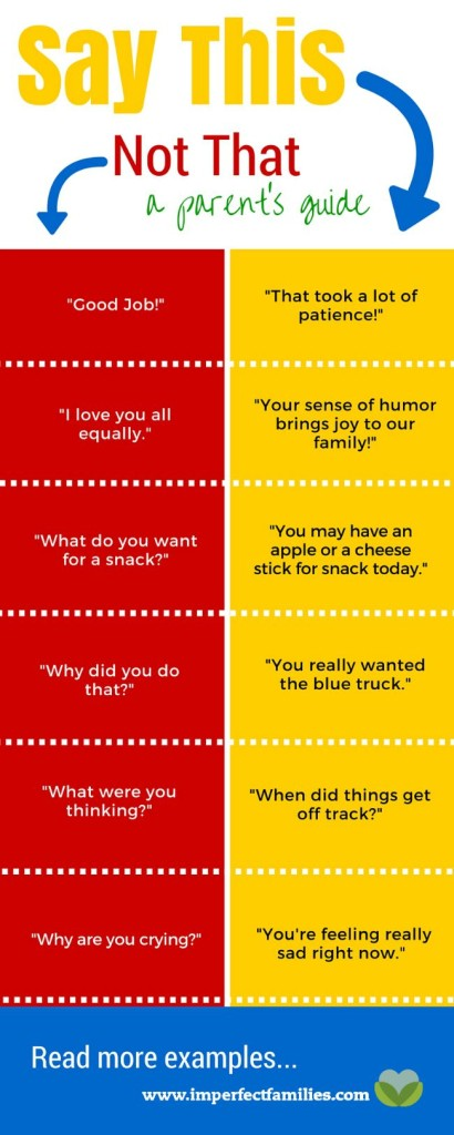 Say this, Not That, a parent's guide. Examples of common parenting phrases, rewritten using positive language!