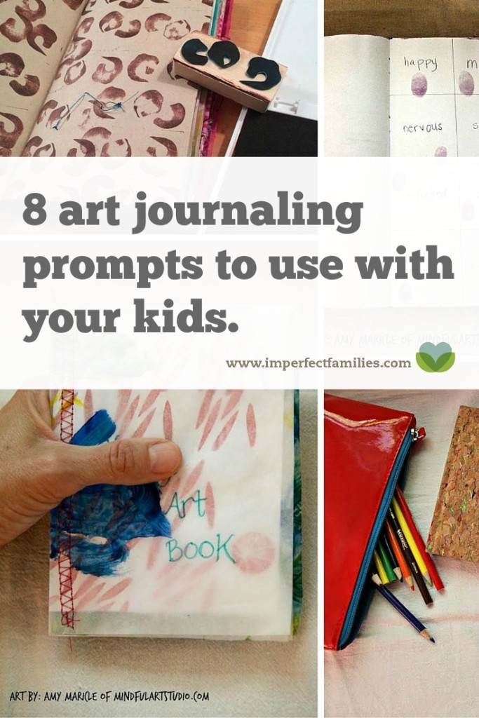 Connect with your kids through art! Use these 8 art journaling prompts to get started art journaling with your kids today!